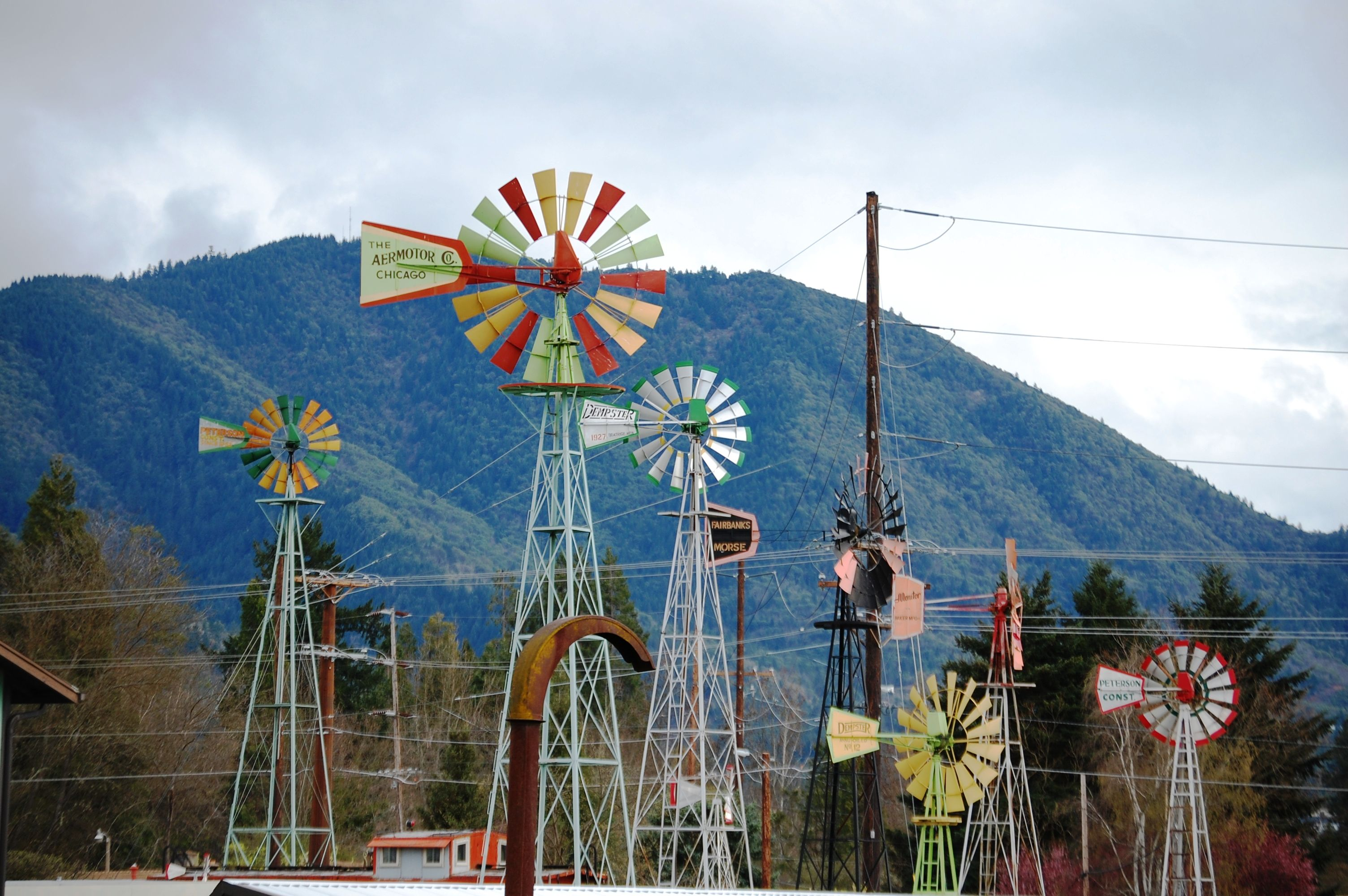 Windmill collection in Talent, Oregon