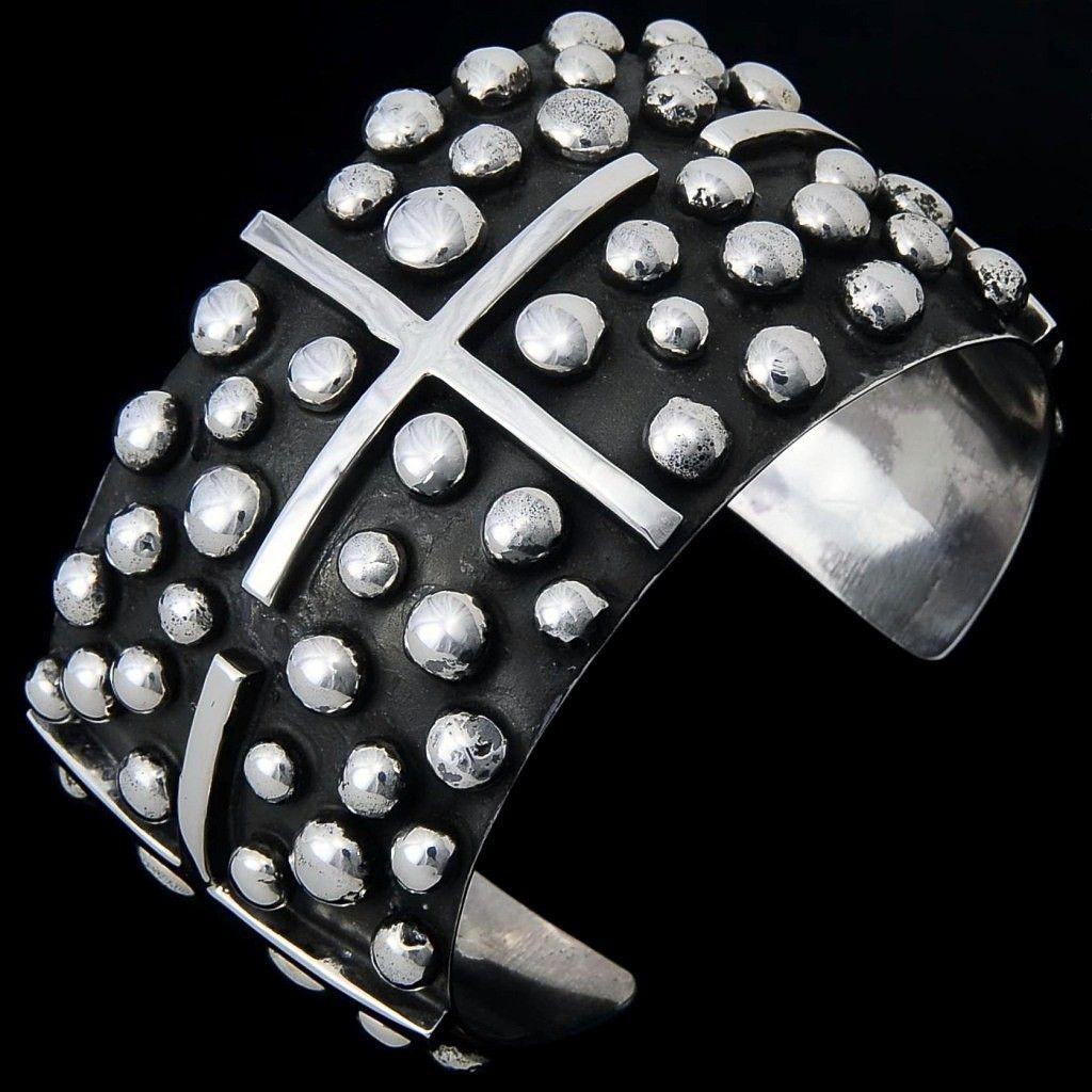 Handmade sterling silver cross cuff bracelet, Navajo Tears Chimney Butte Cuff.