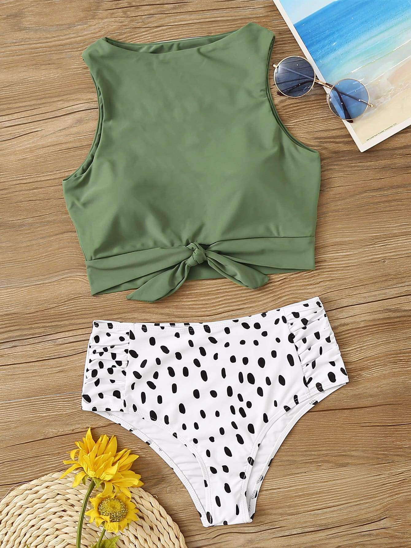 c8cd37b32d Knot Hem Top With Ruched Panty 2 Piece Swimsuit - Popviva #swimwear  #sportswear #