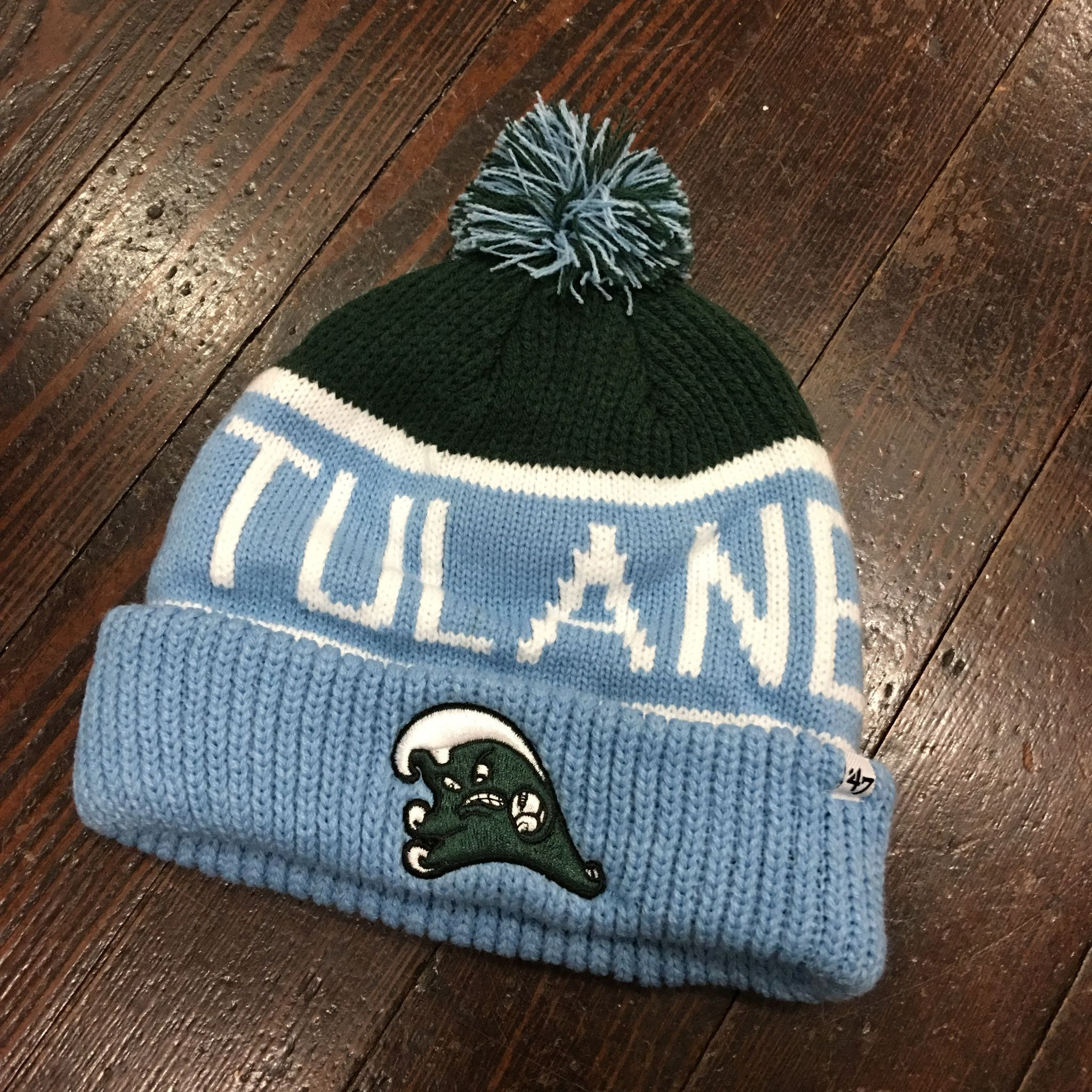 buy online 9c7da 6a0ff germany tulane knit top e21fb 1afce  buy tulane angry wave vintage pom pom  beanie ea195 73d02