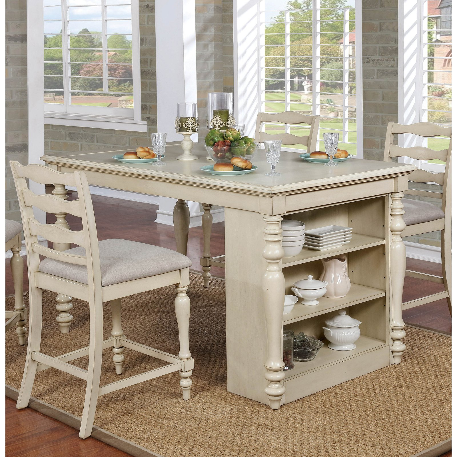 Furniture of America Wilson Rustic Counter Height USB