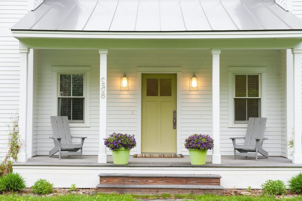 Light Green Front Door Porch Farmhouse With Street Numbers Wall Sconces White Posts Modern Farmhouse Porch Front Porch Design Farmhouse Front Porches
