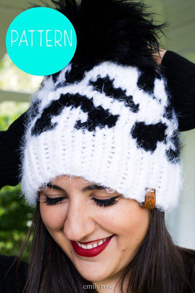 Snow Leopard Knit Beanie Hat Pattern   Leopard Print Toque Hat ...
