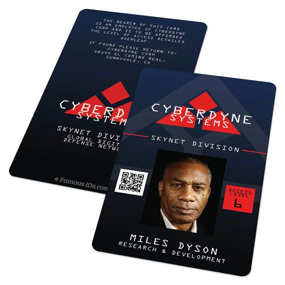 Custom Id Card Badge Cyberdyne Terminator  Skynet By Famousids