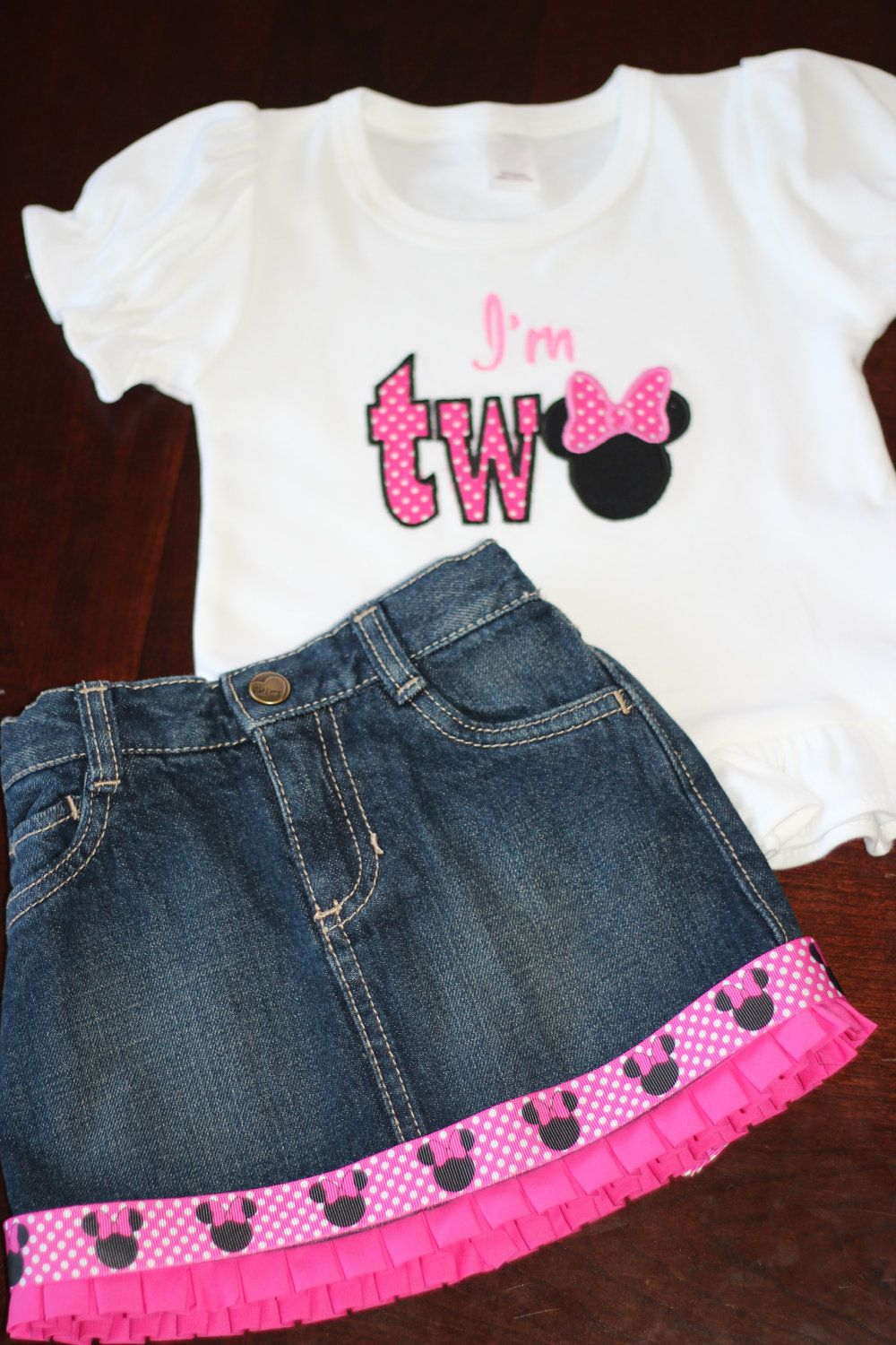 Personalized Minnie Mouse Inspired Ruffled Jean Skirt Birthday Outfit 5450 Via Etsy