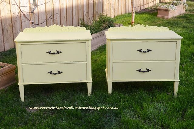 painted yellow vintage bedside tables furniture distressed shabby chic www.retrovintagelovefurniture.blogspot.com.au