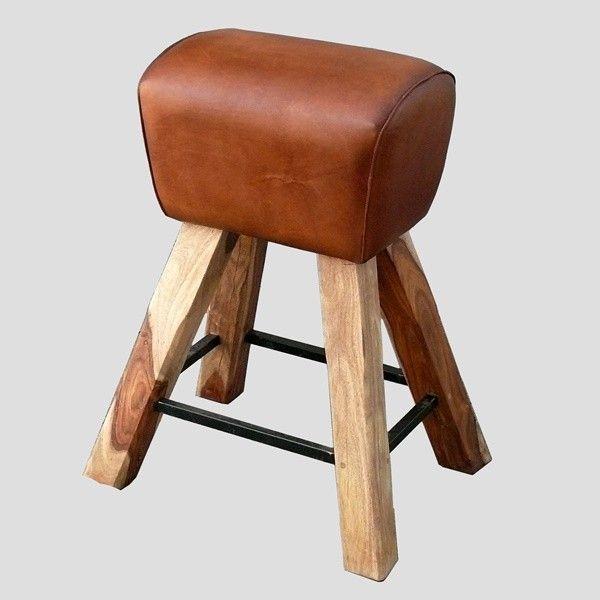 Sprungbock-Barhocker echt Leder - vaulting buch as bar stool, gym ...