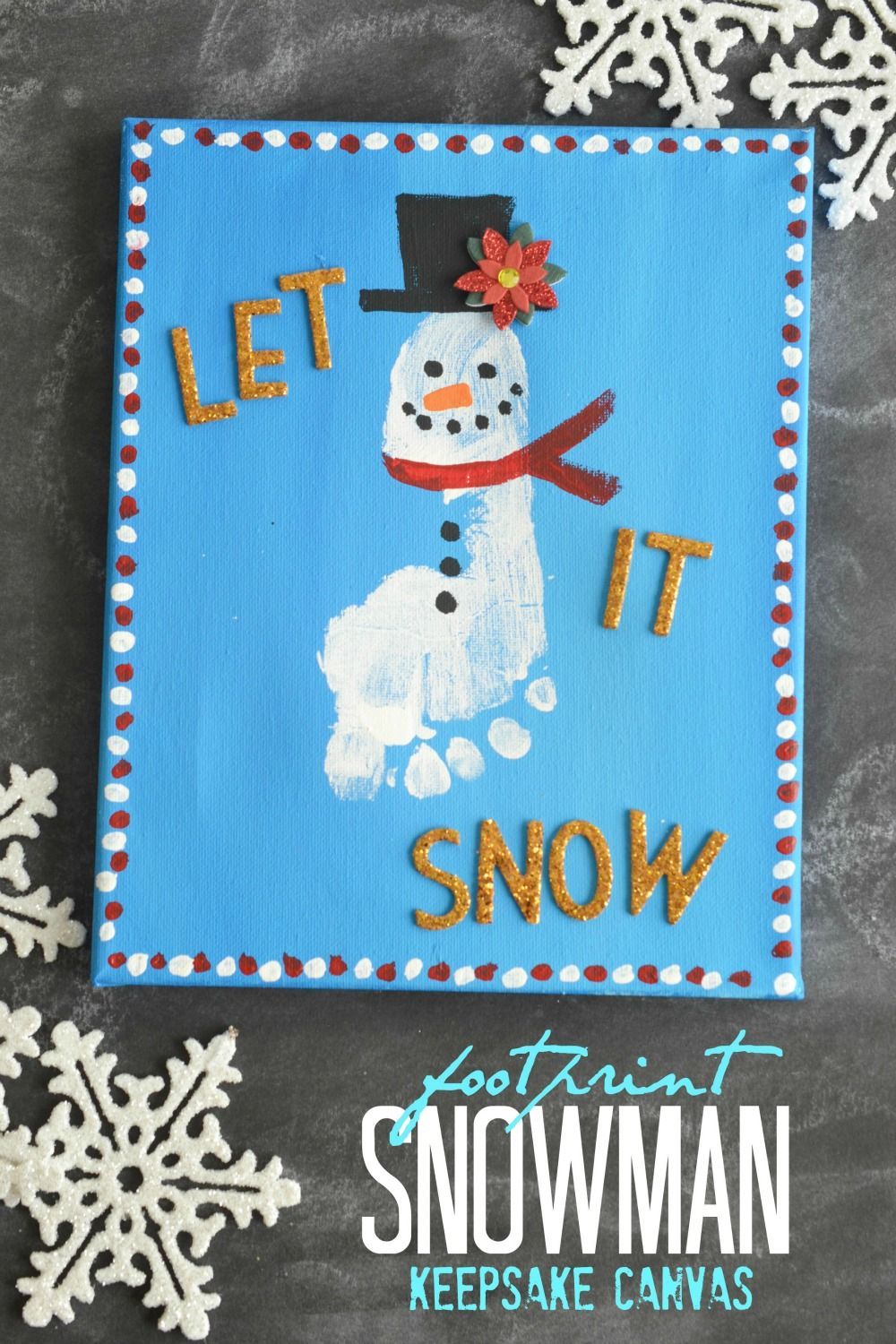 "Footprint Snowman Keepsake Canvas is part of Kids Crafts Canvas Friends - Looking for a kid friendly craft idea to beat the winter blues  Well, look no further because today's Footprint Snowman Keepsake Canvas Idea is not only a clever way to ""build a snowman"" with ease BUT it's also the perfect way to remember those once little feet forever! Enjoy ""building"" your own snowy friend with … Continued"