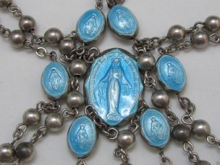 † Very Rare Stunning Vintage Sterling & Blue Guilloche Enamel Elements Rosary † photo