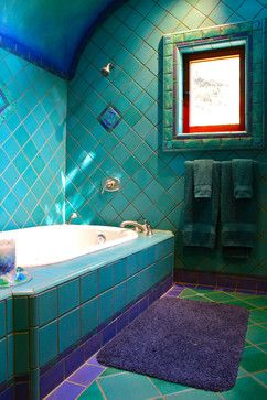 Bathroom In Beautiful Turquoise Tile With Cobalt And Lilac Accents