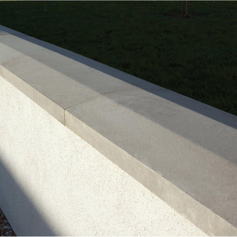 Couvre Mur 2 Pans Partie Plate Lisse Gris H4 X L28 X P