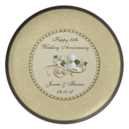 50th Golden Wedding Anniversary Decorative Plate  sc 1 st  Pinterest : anniversary paper plates - pezcame.com