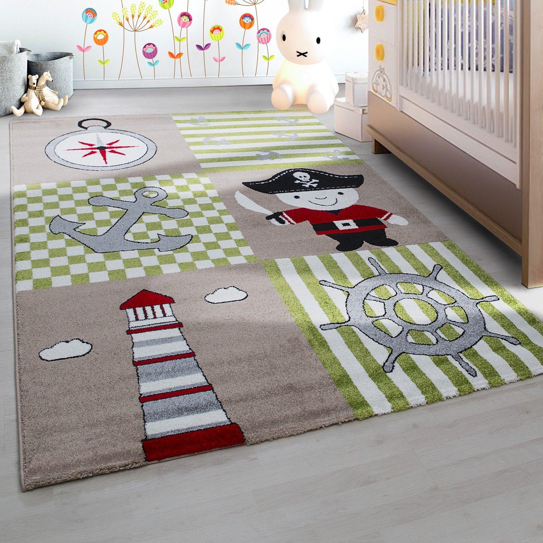 Kinderteppich Kinderzimmer Pirat Muster Kurzflor