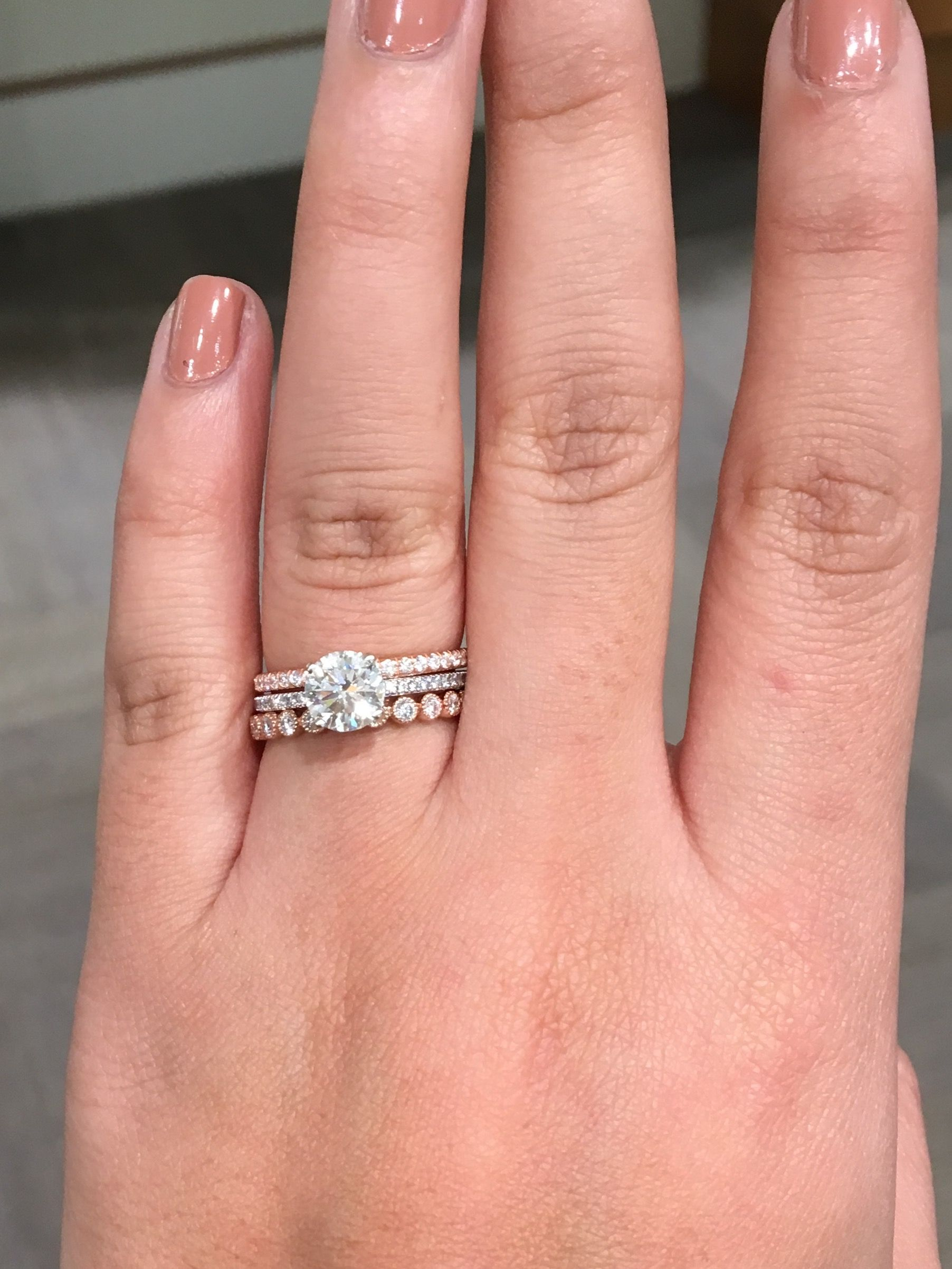1 07 Carat Round Solitaire In Search Of Eternity Band Weddingbee Curated Pins By Www V Double Band Wedding Ring Diamond Wedding Bands Stacked Wedding Rings