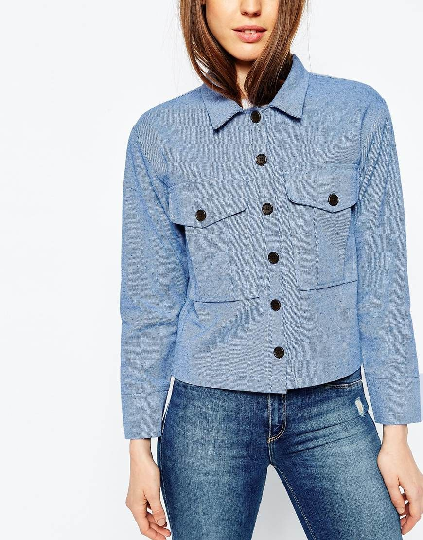 6582452901 Image 2 of ASOS Chambray Shacket With Button Detail