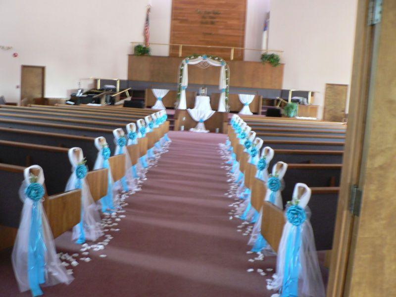 SET OF 1O Wedding decor. Chair Bows Pew Bows Turquoise White, Church ...