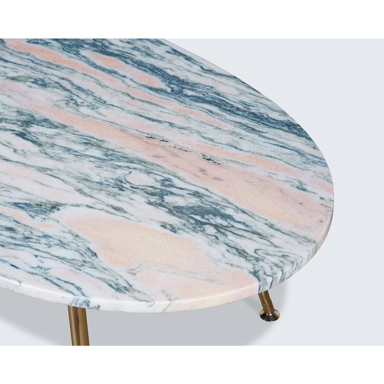 Pink Marble Coffee Table With Brass Legs By Modern Times | From A Unique  Collection Of