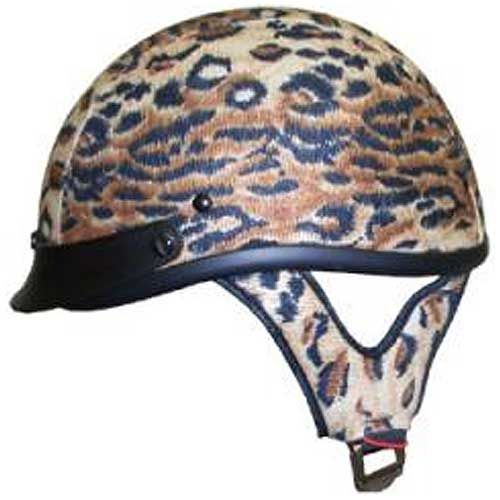 Motorcycle Shorty Helmet D.O.T Approved Leopard