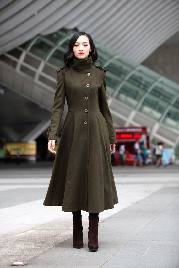 Army Green Cashmere Coat Big Sweep High Collar Women Wool Winter ...