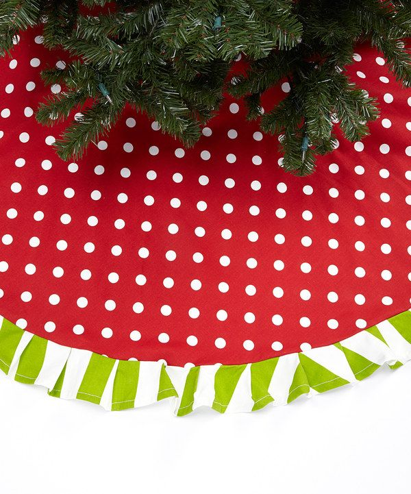 Take a look at this Red & White Polka Dot Ruffle Tree Skirt on zulily today! | Ruffled tree ...