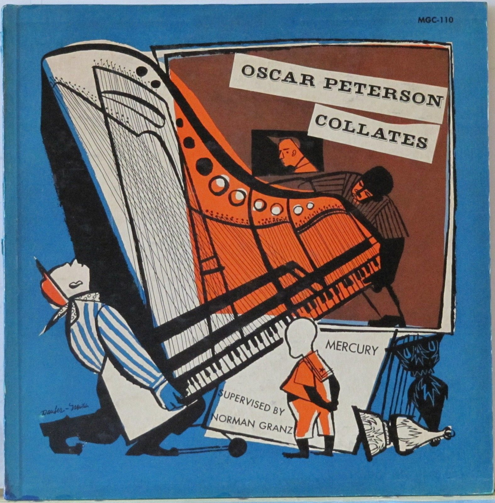 Oscar Peterson-Collates, label: Mercury MGC 110 (1952) Design: Eizabeth Dauber (One of four covers commisioned by Martin for Granz imitating and often mistaken for DSM's)