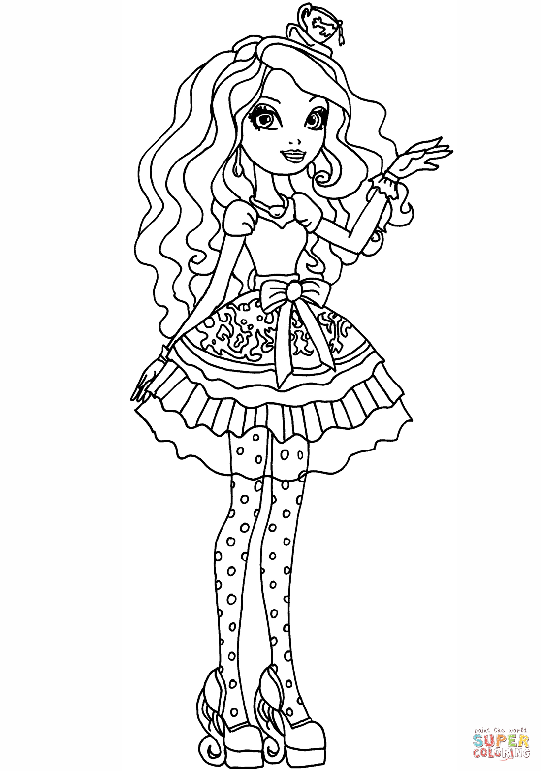 Ever After High Madeline Hatter Coloring Page Free Printable