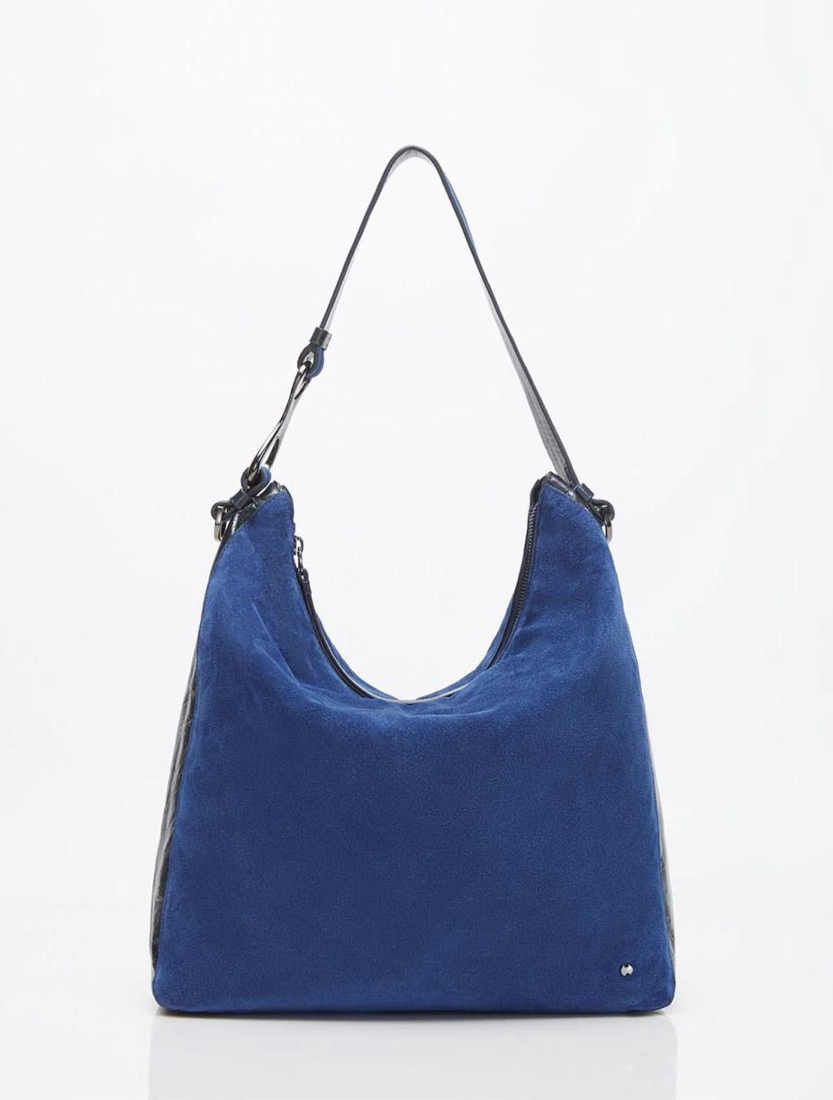 6bb97d638a HALSTON HERITAGE ELSA SILKY SUEDE W GLAZED CONVERTIBLE CROSSBODY - COASTAL  BLUE.  halstonheritage  bags  shoulder bags  lining  silk  crossbody  suede