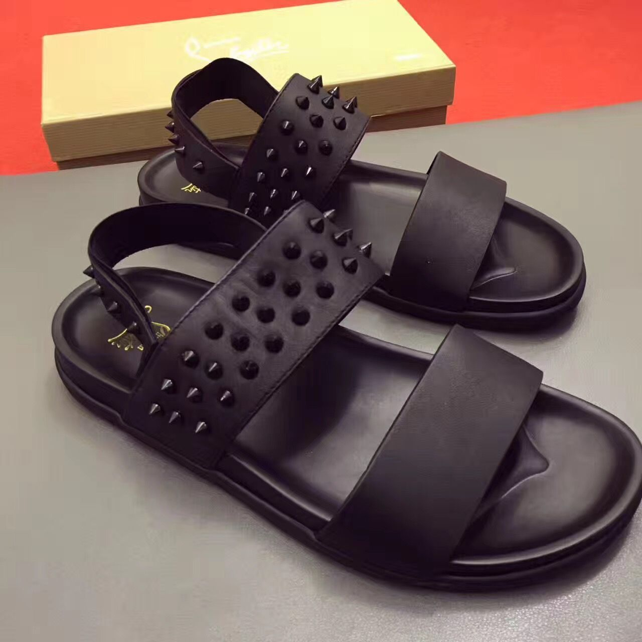 discount sale big discount nice cheap Christian louboutin man slippers flats | Mens sandals fashion ...