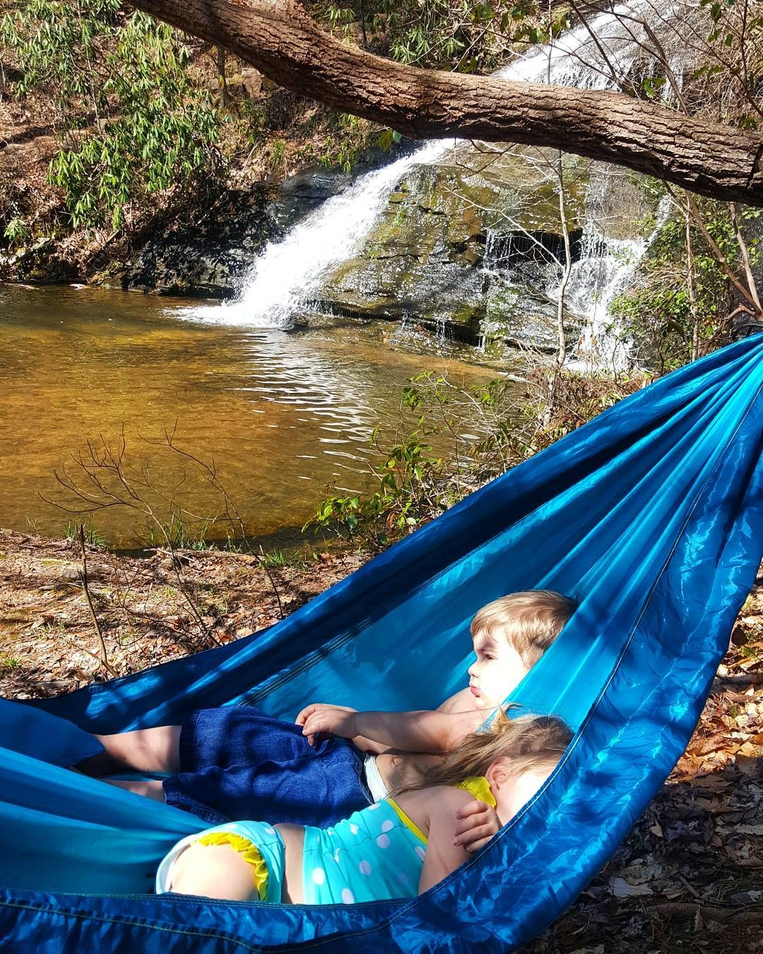 I got a hammock full of cuties. #couplegoals #mountainkids #raiseemright #hammocklife by @blueridgemountaingirl