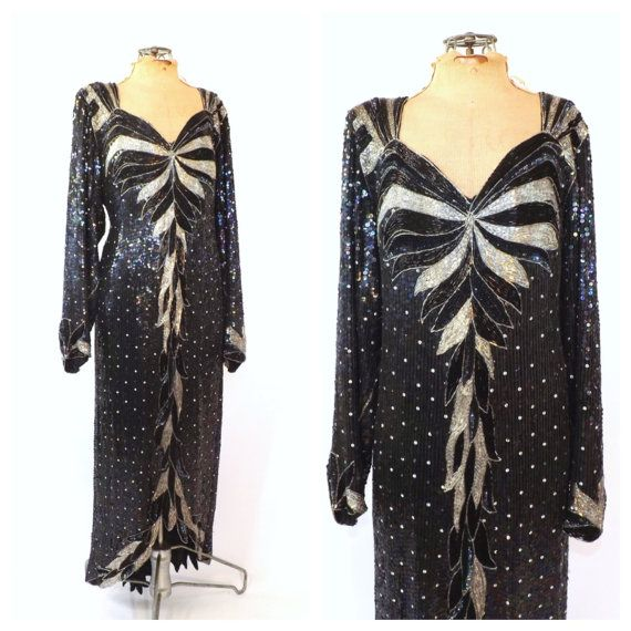 1980s Dress With A 20s Vibe! Heavily Covered In Sequins