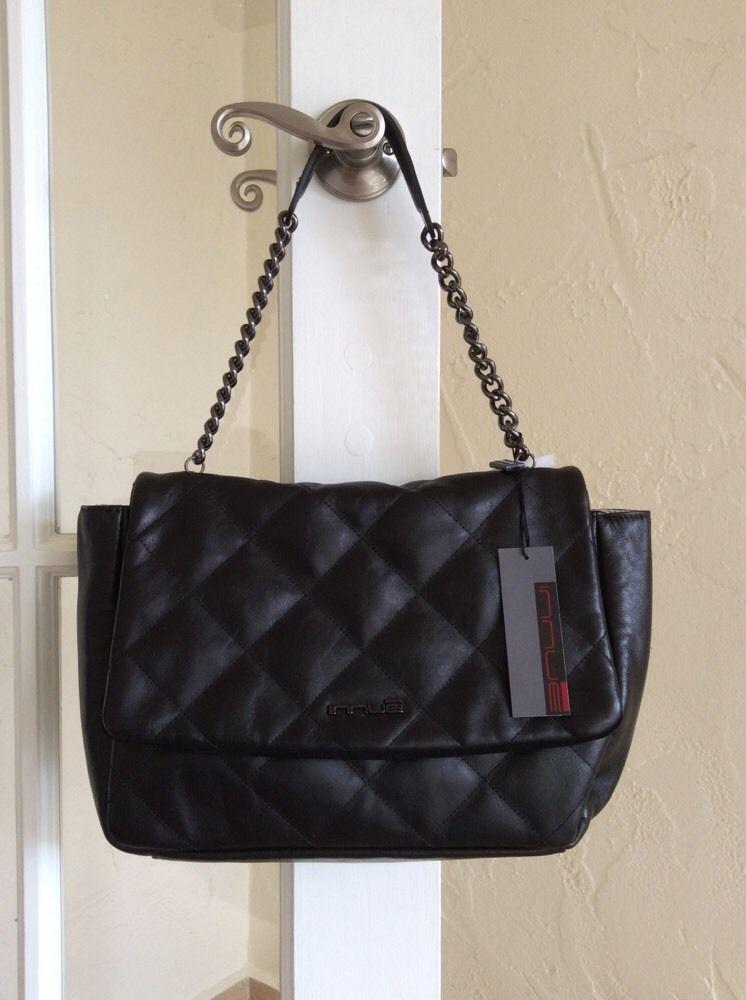 Innue Italian Leather Handbag Shoulder Bag Black Nwt Style R3336 Treso Nero Shoulderbag