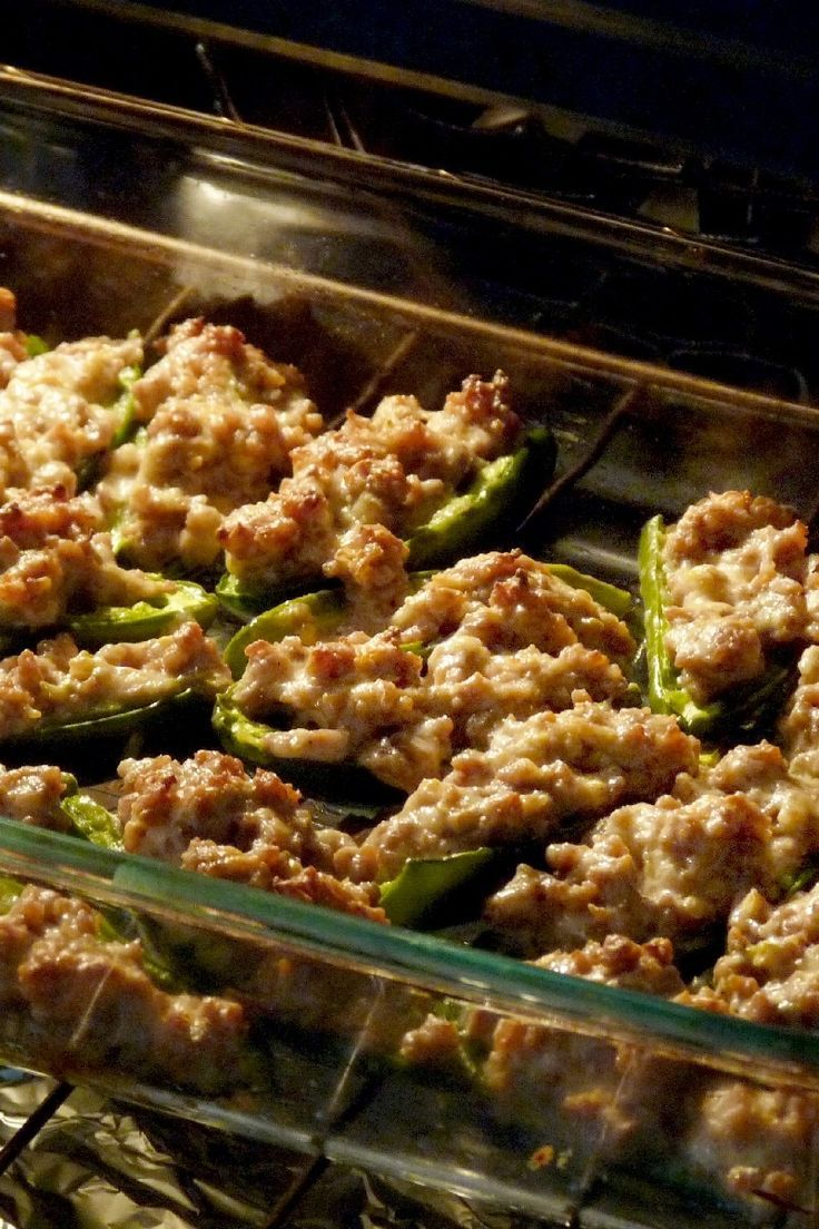 Sausage Stuffed Jalapenos Appetizer Recipe with ground pork sausage, cream cheese, parmesan cheese, and ranch dressing. #appetizers #sausage #kitchme #partyrecipes #jalapeno #recipes #porksausages