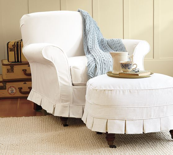 Savannah Slipcovered Chair Ottoman Pottery Barn 809 494 Slipcovers For Chairs Furniture Slipcovers Dining Room Chair Covers