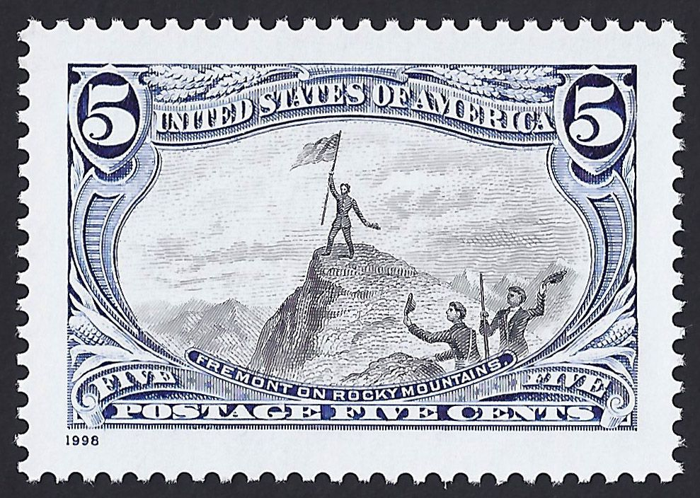 """United States Scott #3209d (18 Jun 1998) Trans-Mississippi Centennial issue: John C. Fremont on the Rocky Mountains. John C. Fremont was an American military officer, explorer and politician. During the 1840s, when he led four expeditions into the American West, the news media and admiring historians accorded Fremont the nickname """"The Pathfinder."""" His deeds enhanced the United States """"Period of Western Expansion."""""""