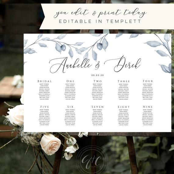 Fall Watercolor Wedding Seating Chart Template, Leaves