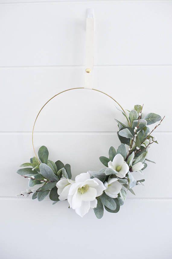 Modern spring garden blooms & branches wreath|bridal hoop|Spring wreath|hoop wreath|summer wreath|front door wreath|greenery wreath