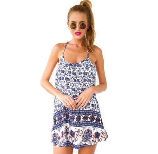 ee8ae1a9b96 Krátké dámské letní šaty k moři za nízké ceny modré – letní šaty + POŠTOVNÉ  ZDARMA