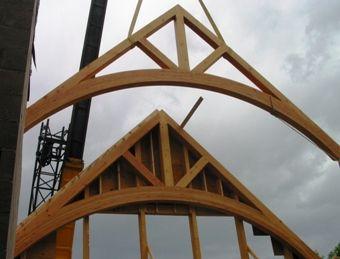 Glulam curved scissor trusses pinterest for Scissor roof truss prices