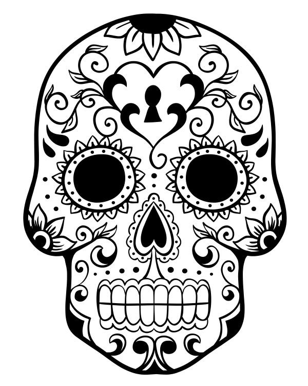 Printable Day of the Dead Sugar Skull Coloring Page 2 Halloween