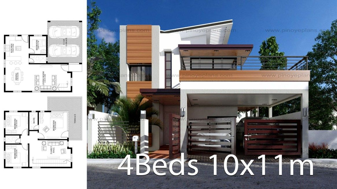 Modern Home Design 10x11m With 4 Bedrooms Modern House Design House Design One Bedroom House