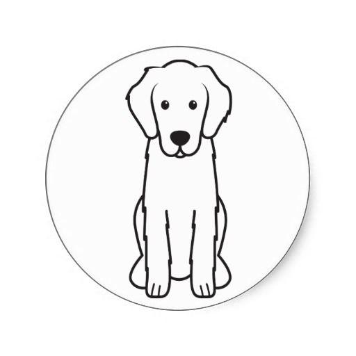 Flat Coated Retriever Dog Cartoon Sticker Cartoon Dog Golden Retriever Drawing Dogs Golden Retriever