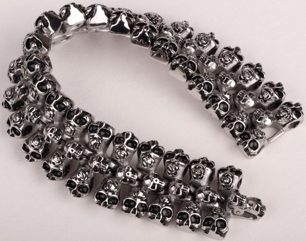 Ships From Usa Men Stainless Steel Skull Bracelet 316l Cuff Chain Heavy Biker Jewelry 130