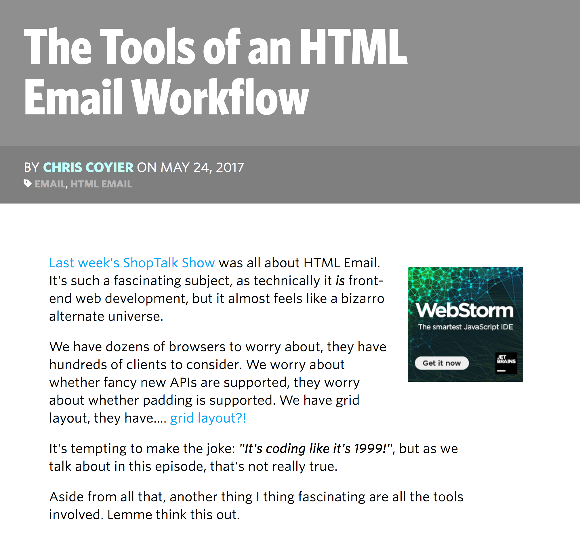 CSS Tricks: The Tools of an HTML EMail Workflow | Email Design