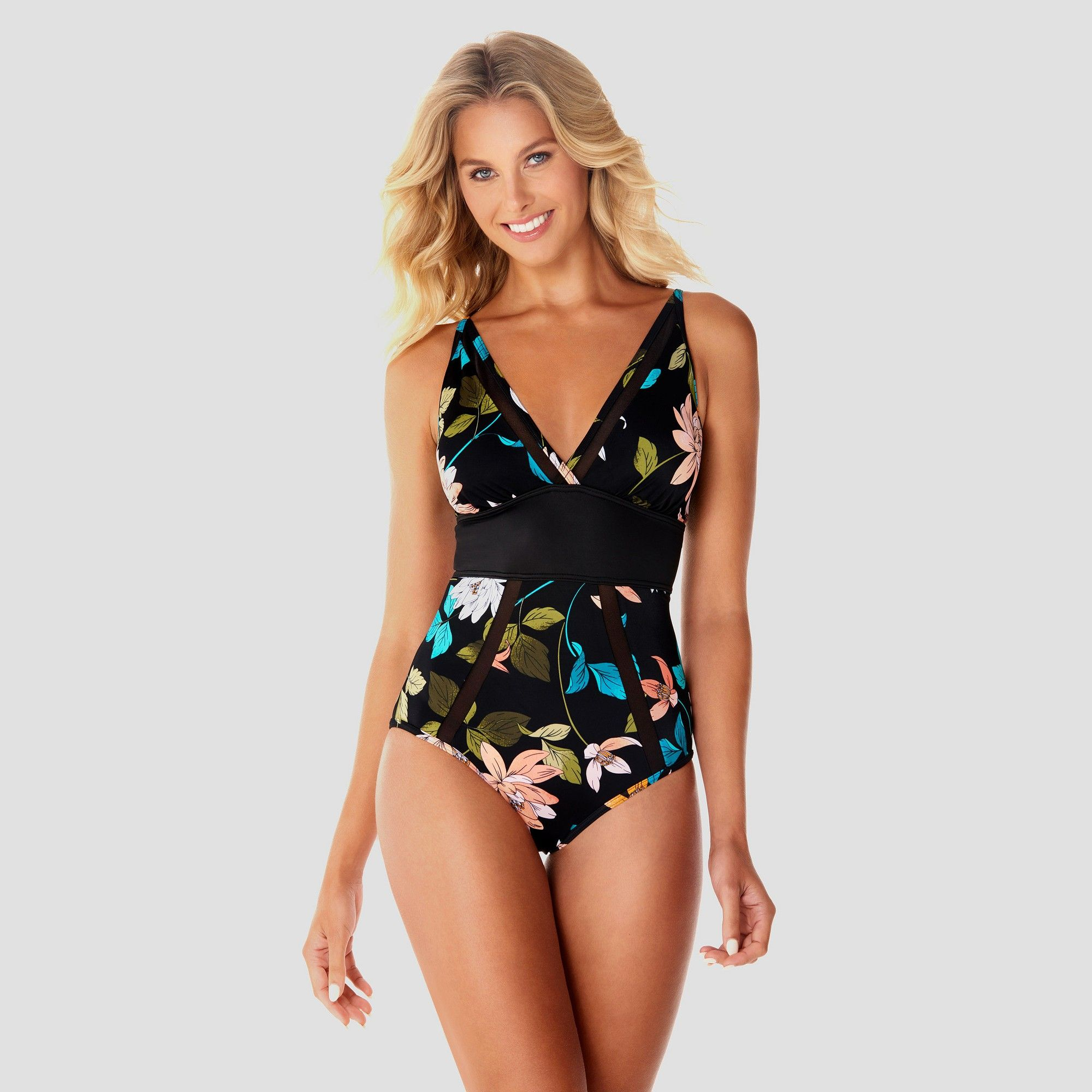 41c6b243aedaf Women's Slimming Control Mesh One Piece Swimsuit - Dreamsuit by Miracle  Brands Black Floral 12