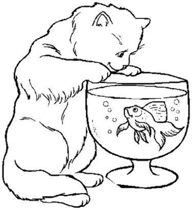 Ausmalbilder Katzen und Fische 01 | ausmalbilder | Pinterest ...
