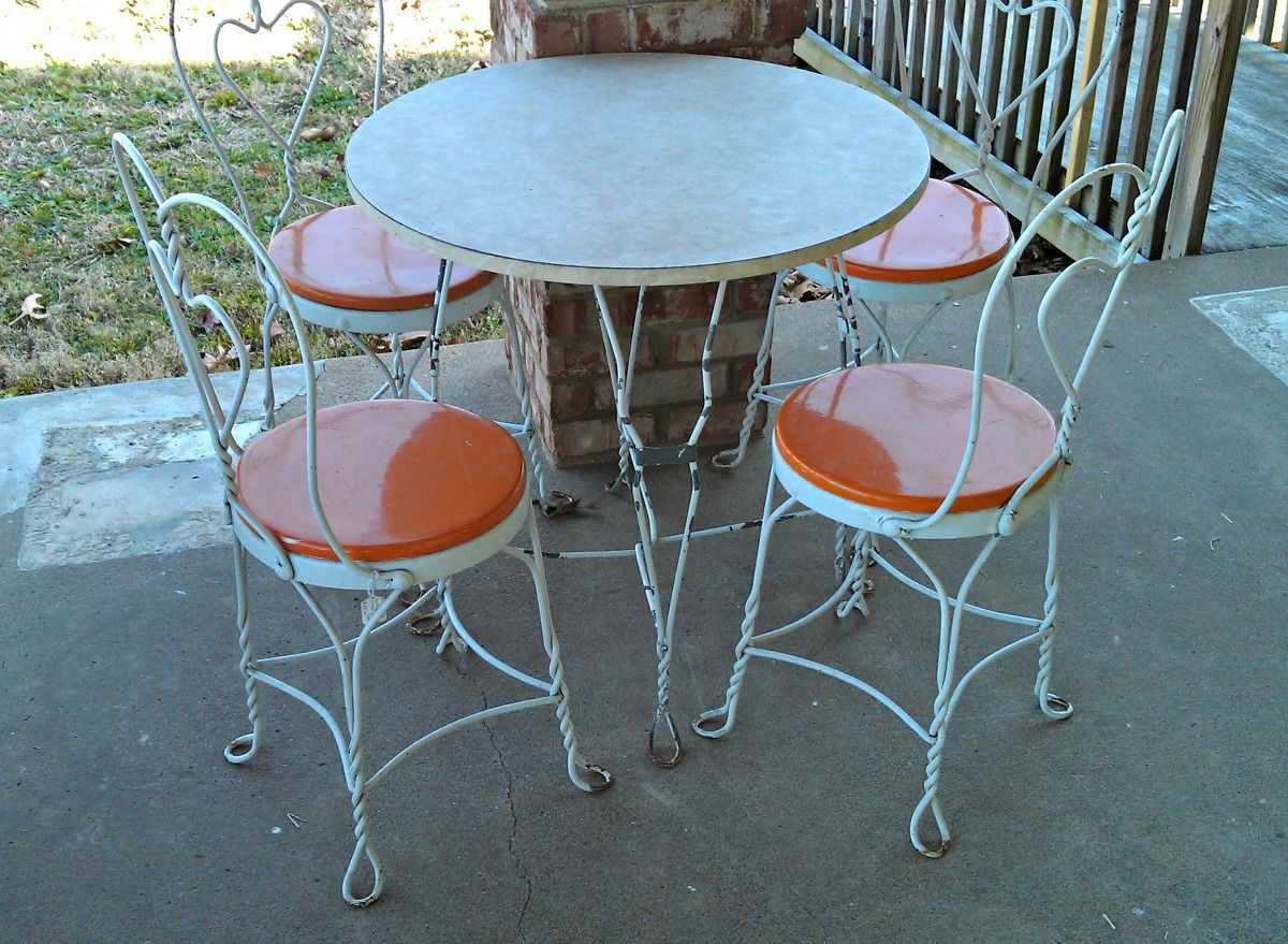 vintage ice cream parlor table chair patio set retro patio - Retro Patio Furniture