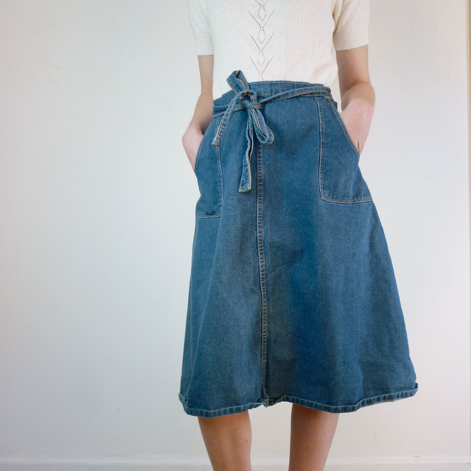 Denim Wrap Skirt / Jean Wrap Around Skirt | Jean skirt, Wraps and ...