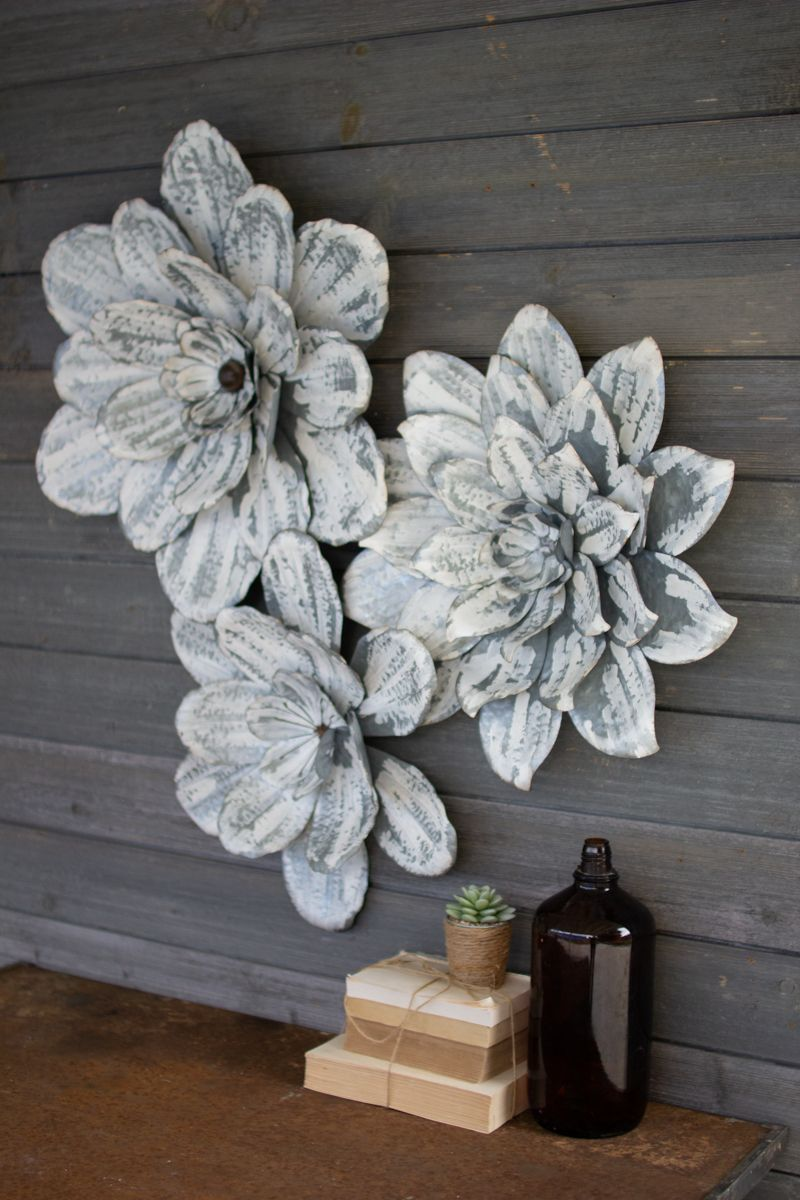 Set Of 3 Whitewashed Wall Flowers Metal Wall Flowers Metal Flower Wall Art Flower Wall Decor