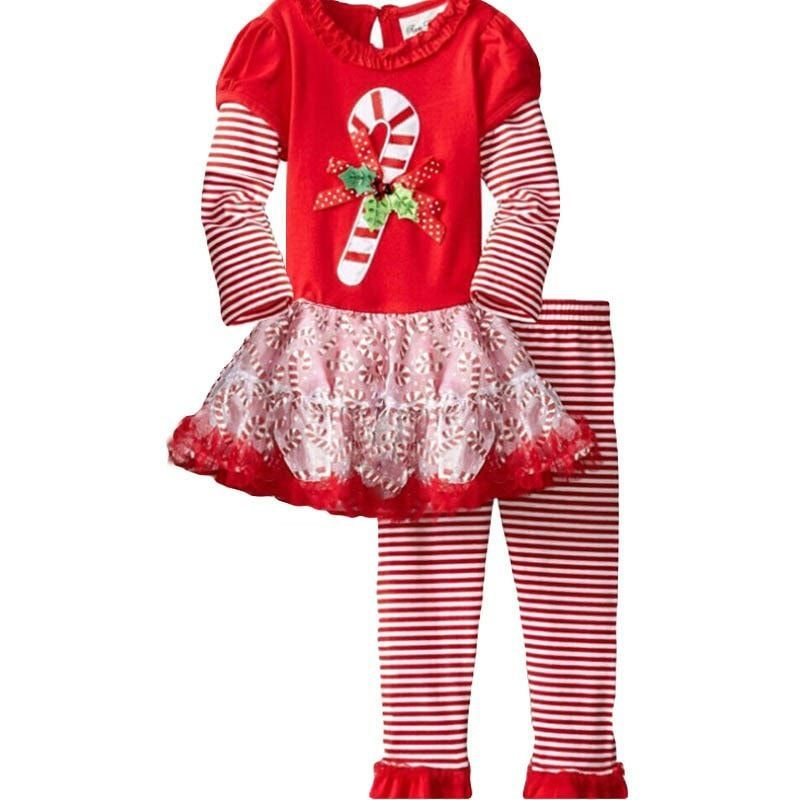 Long sleeve dot dress + stripe pants 2 pcs Christmas clothing set