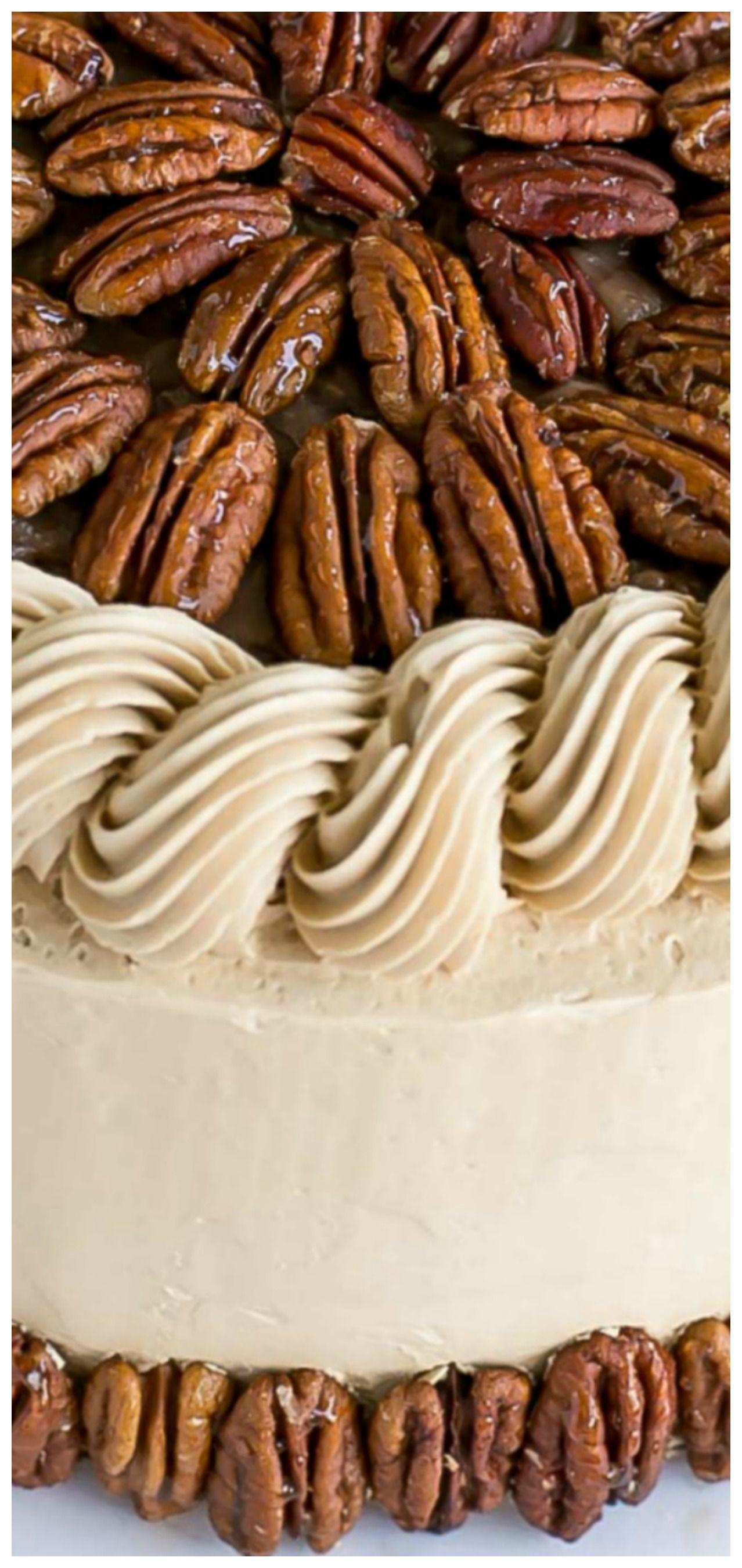 Pecan pie cake brown sugar cake layers and buttercream